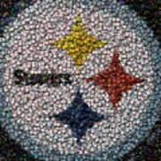 Pittsburgh Steelers  Bottle Cap Mosaic Print by Paul Van Scott