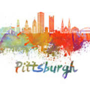 Pittsburgh V2 Skyline In Watercolor Art Print