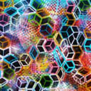 Pixelated Cubes Art Print