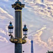 Place De La Concorde View Eiffeltower Art Print