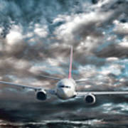 Plane In Storm Art Print by Olivier Le Queinec