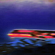 Plane Landing At Airport - The Red Eye Flight Print by Steve Ohlsen