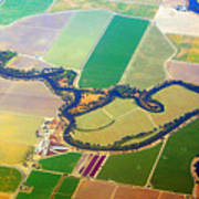 Planet Art Colorful  Midwest Aerial Art Print