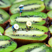 Planting Rice On Kiwifruit Art Print by Paul Ge