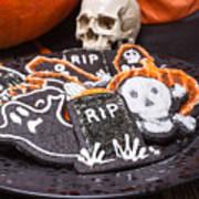 Plate Of Halloween Sugar Cookies Art Print