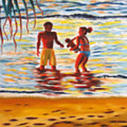 Play Day At Jobos Beach Art Print