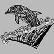 Playful Dolphin Zentangle Art Print