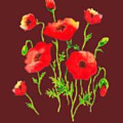 Playful Poppy Flowers Art Print