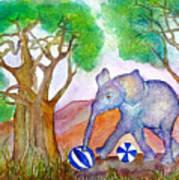 Playing By The Baobab Tree Art Print