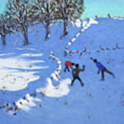 Playing In The Snow Youlgrave, Derbyshire Art Print