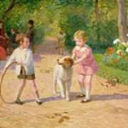 Playing With The Hoop Art Print by Victor Gabriel Gilbert