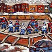 Playoff Time At The Local Hockey Rink Montreal Winter Scenes Paintings Best Canadian Art C Spandau Art Print