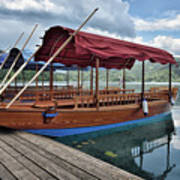 Pletna Boats Of Lake Bled Art Print