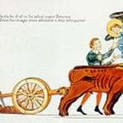 Ploughing, 12th Century Art Print