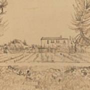 Ploughman In The Fields Near Arles 1888 Art Print