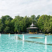 Plovdiv Singing Fountains - Bright Aquamarine Water Dancing Jets And Music Art Print