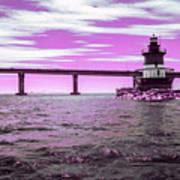 Plum Beach Lighthouse In Ir Art Print