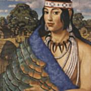 Pocahontas Wears A Turkey-feather Robe Art Print