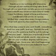 Poem The Question By Ella Wheeler Wilcox Art Print