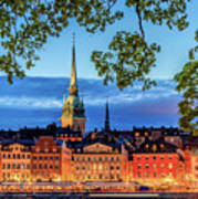Poetic Stockholm Blue Hour Art Print