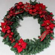 Poinsettia Wreath Art Print