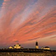 Point Judith Lighthouse Sunset Art Print