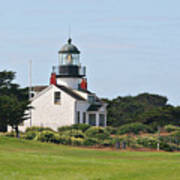 Point Pinos Light - Lighthouse On The Golf Course - Pacific Grove Monterey Central Ca Print by Christine Till