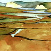 Point Reyes, Ca, Drakes Beach Estuary, Midday Tide, Watercolor Plein Air Art Print