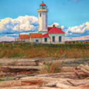 Point Wilson Lighthouse And Driftwood Art Print