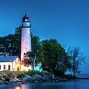 Pointe Aux Barques Lighthouse At Dawn Art Print