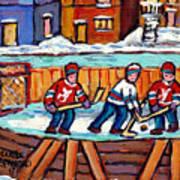 Outdoor Hockey Rink Painting  Devils Vs Rangers Sticks And Jerseys Row House In Winter C Spandau Art Print