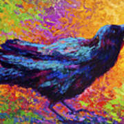 Poised - Crow Art Print by Marion Rose