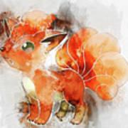 Pokemon Vulpix Abstract Portrait - By Diana Van Art Print