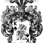 Poker King Spades Black And White Art Print