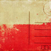 Poland Flag Postcard Art Print