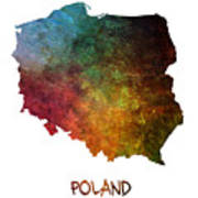 Poland Map Polska Map Art Print