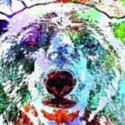 Polar Bear Colored Grunge Art Print