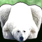 Polar Bear - Green Art Print