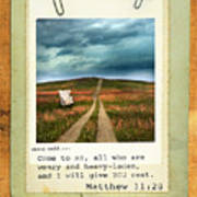Polaroid On Weathered Wood With Bible Verse Art Print