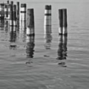 Poles In The Water Art Print