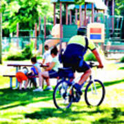 Police Officer Rides A Bicycle Art Print
