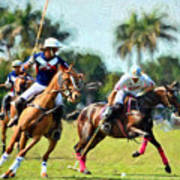 Polo Players And Ponies Art Print