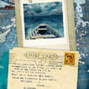 Poloroid Of Boat With Inspirational Quote Art Print