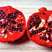 Pomegranate Cut In Half Art Print