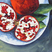 Pomegranates On A Plate  Art Print