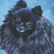 Pomeranian Black Art Print by Lee Ann Shepard