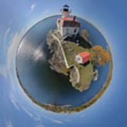 Pomham Rocks Lighthouse Little Planet Art Print