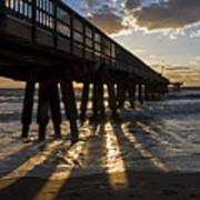 Pompano Beach Fishing Pier At Sunrise Florida Sunrays Art Print