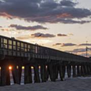 Pompano Beach Fishing Pier At Sunrise Florida Art Print