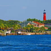 Ponce Inlet Waterfront And Lighthouse Art Print